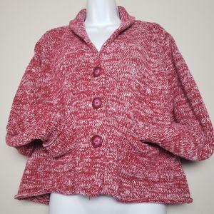 Liz Claiborne red chunky knit petite sweater sz L